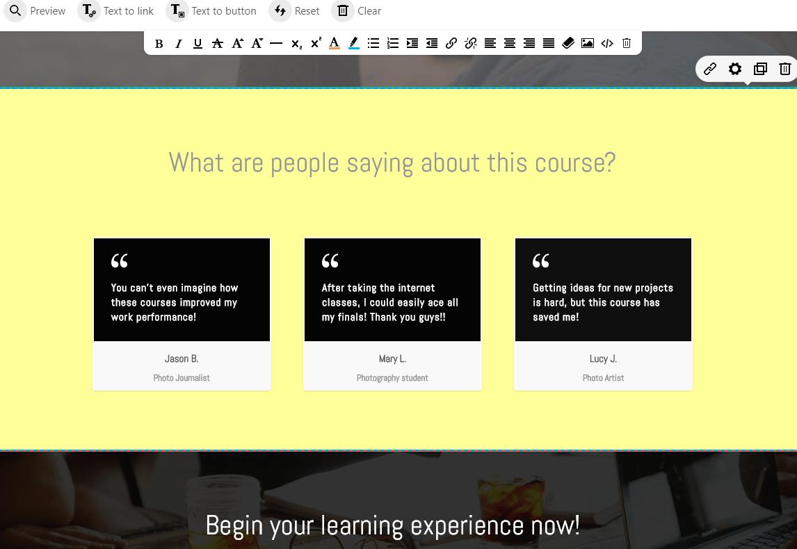 A screenshot of customer testimonial template on an online school.