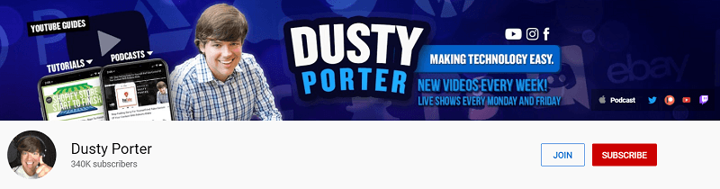 A screenshot showing Dusty Porter's YouTube channel.