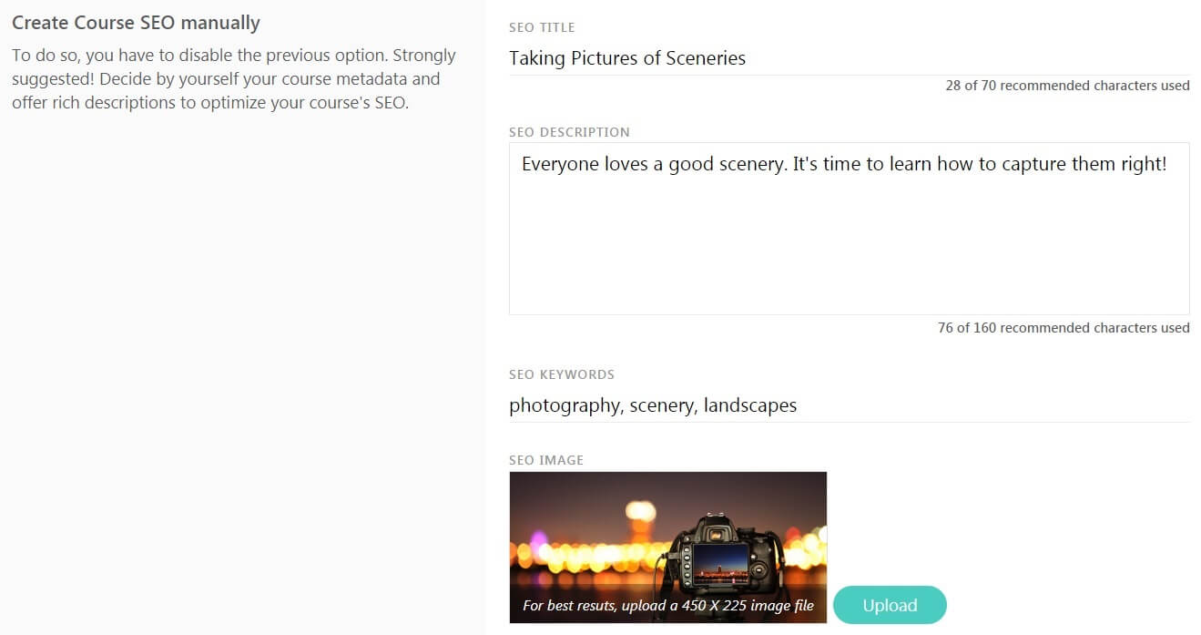 LearnWorlds Course SEO Settings Screenshot