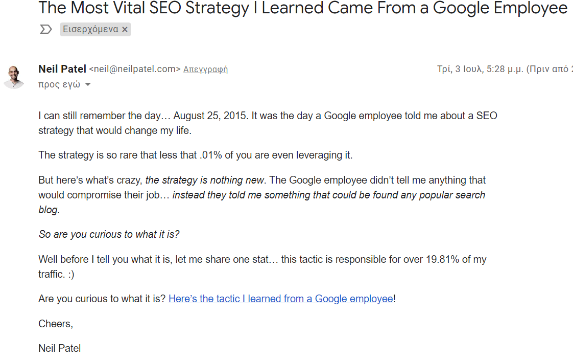 Neil Patel example email