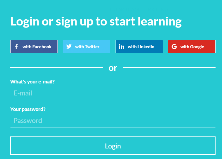 Full login form on LearnWorlds