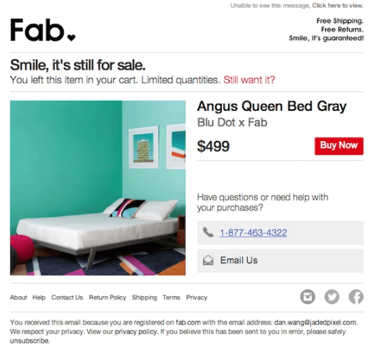 Fab's example on cart abandonment
