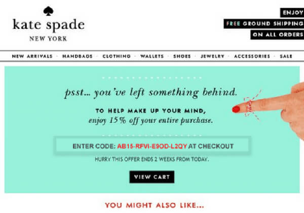 kate spade email example