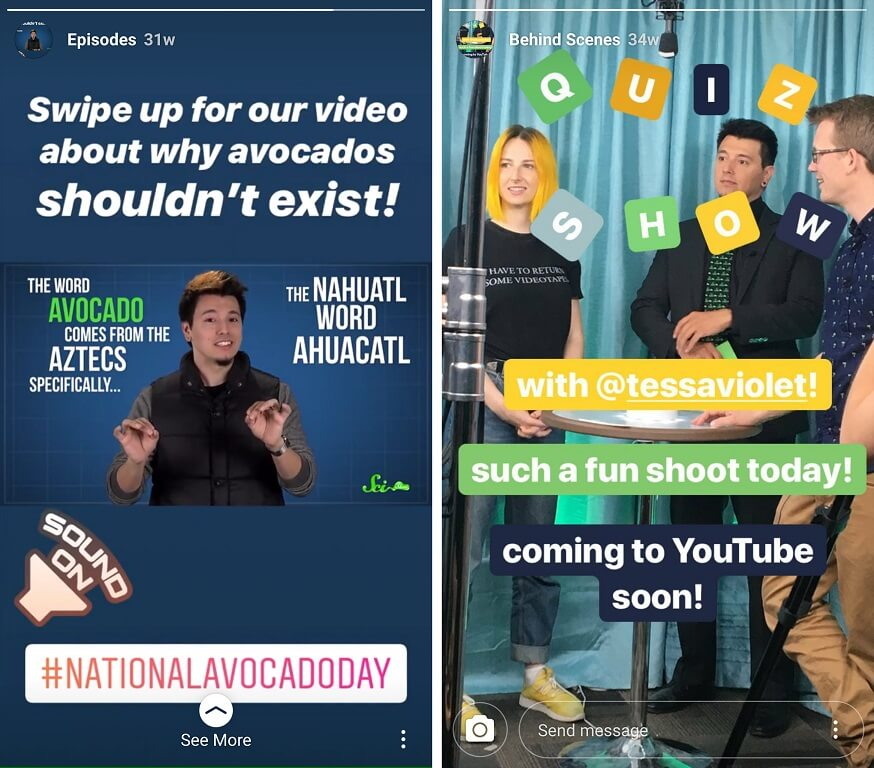 instagram story examples from scishow