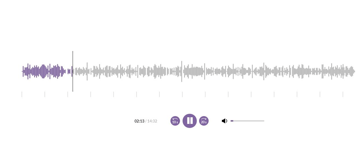 How the LearnWorlds' new audio player looks like.