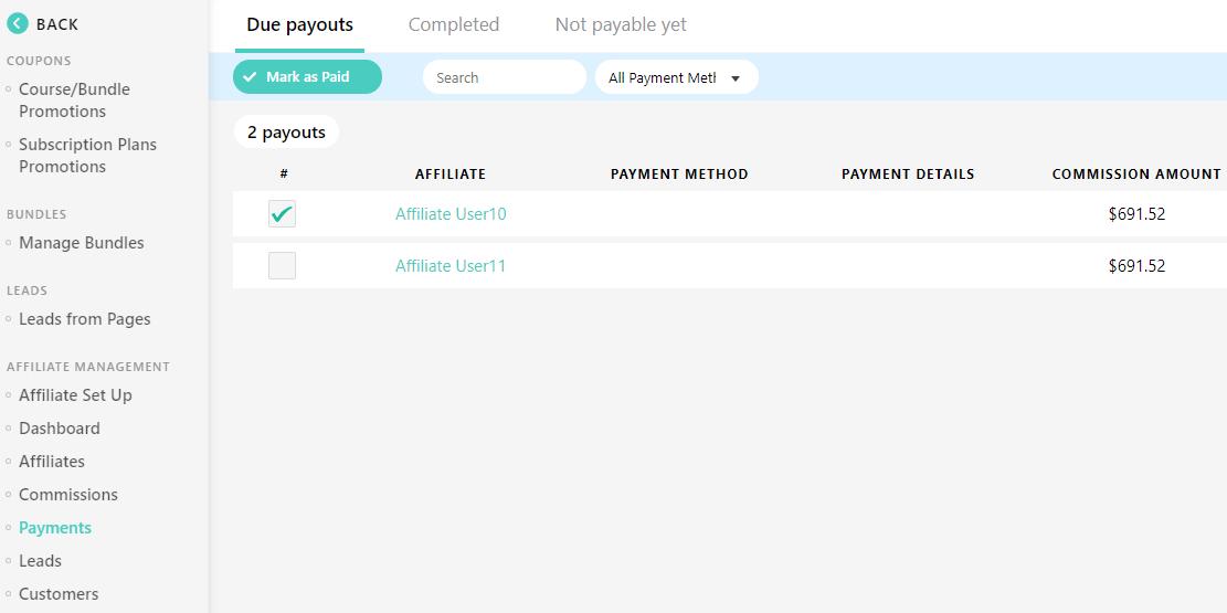 affiliate management screenshot