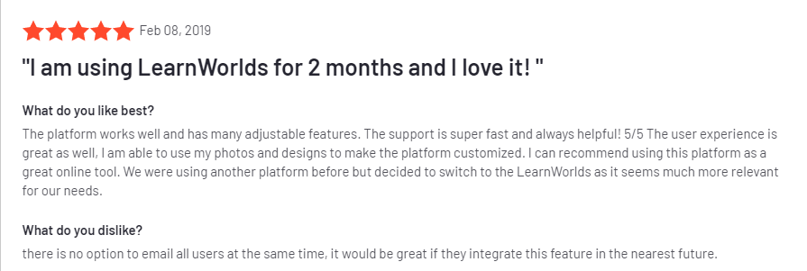 G2 reviews on the LearnWorlds Course Platform.
