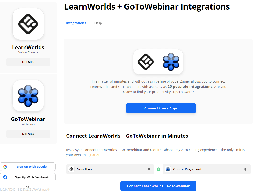 Connecting LearnWorlds wtih GoToWebinar using Zapier
