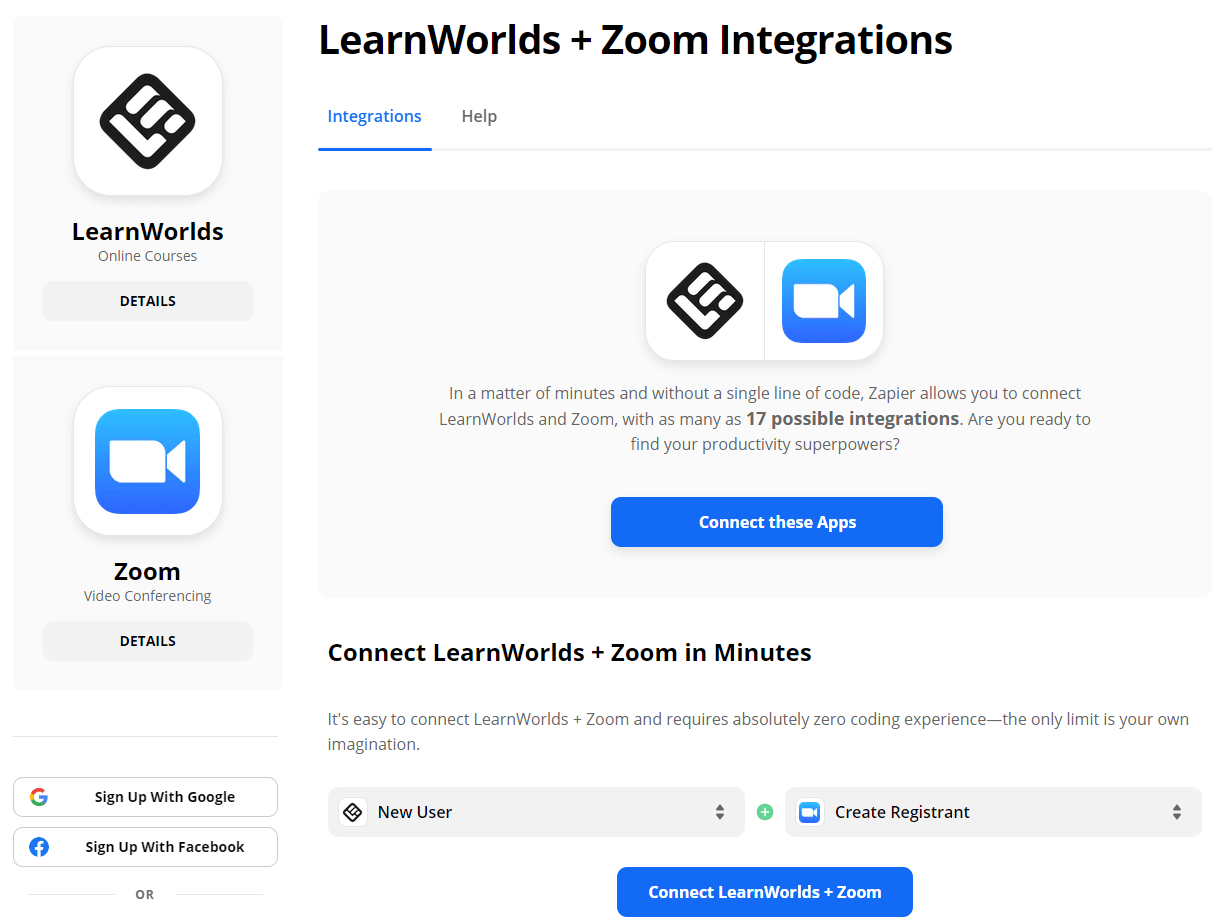 Connecting LearnWorlds wtih Zoom using Zapier