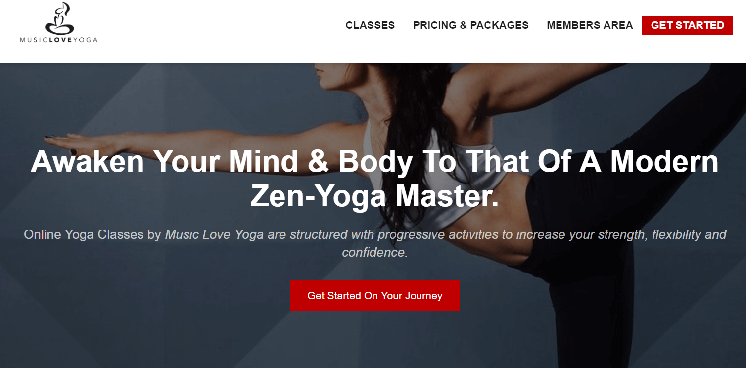 A screenshot showing the website of Music Love Yoga to awaken your mind and body