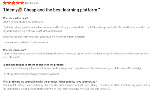 Udemy reviews