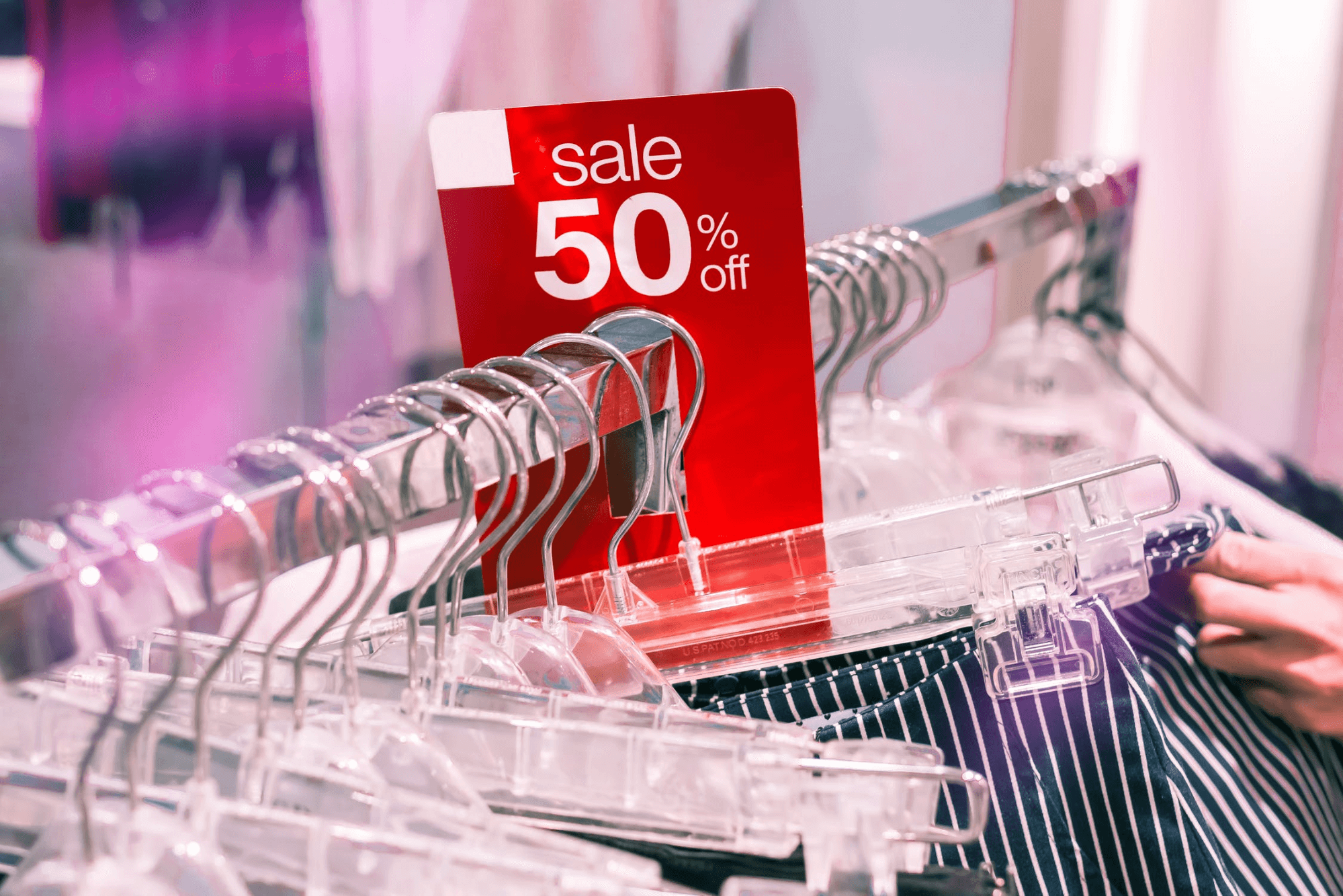 picture showing clothes on a special 50% offer