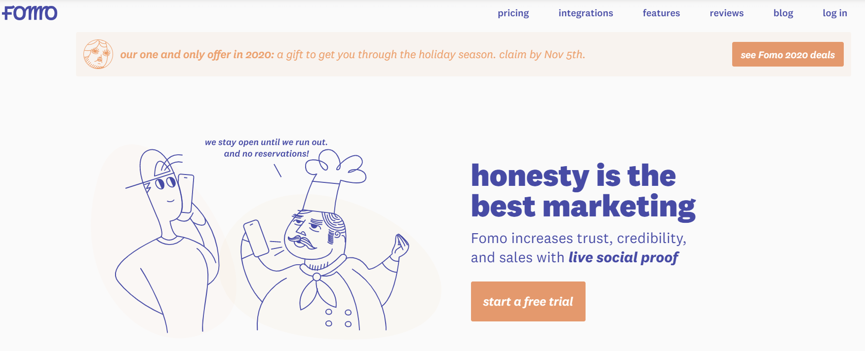 FOMO homepage