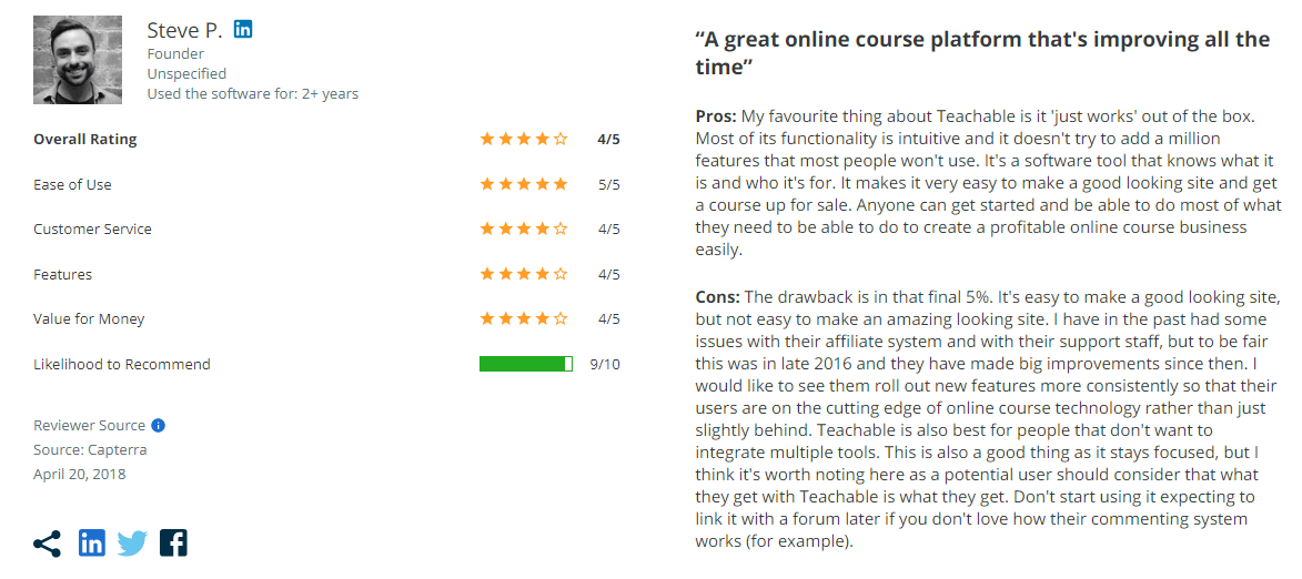 Teachable review on Capterra