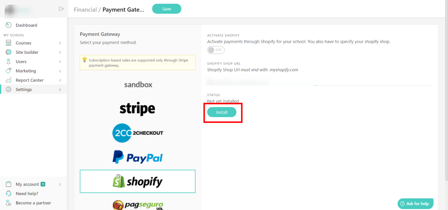 Connect LearnWorlds to Shopify