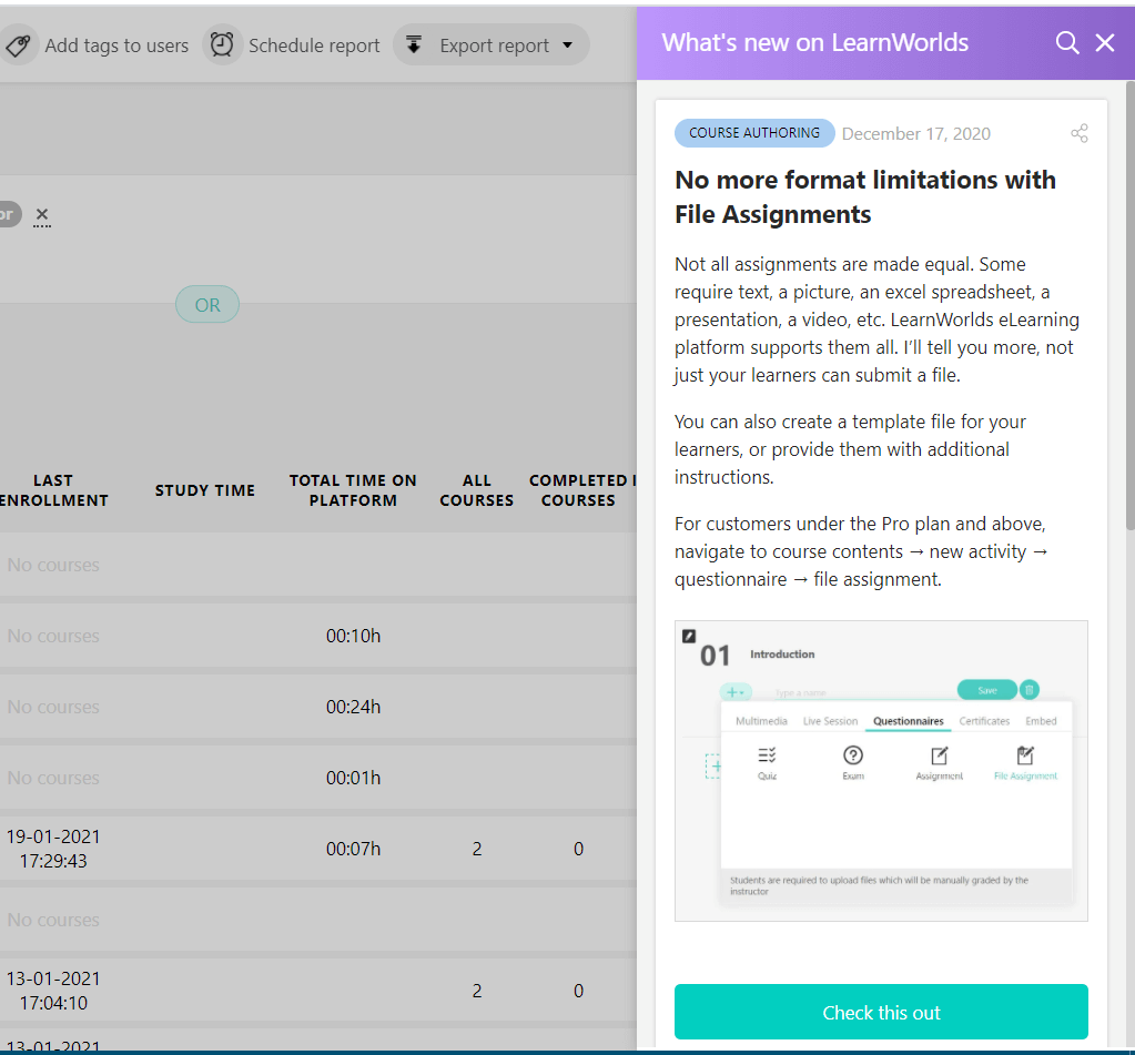 how LearnWorlds' changelog looks on a school account