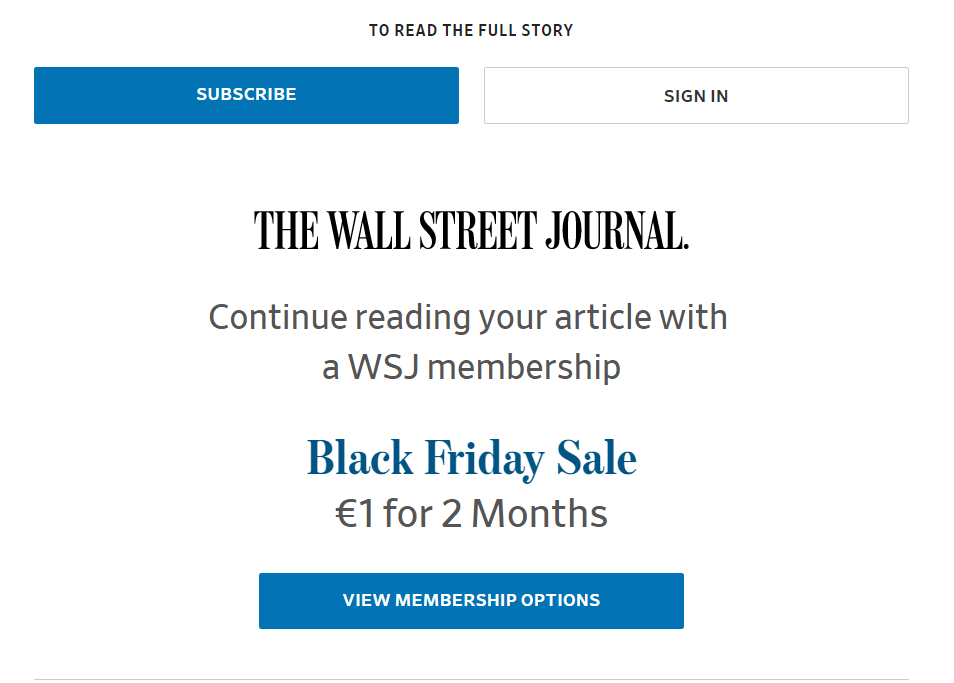 Wall Street Journal Paywall