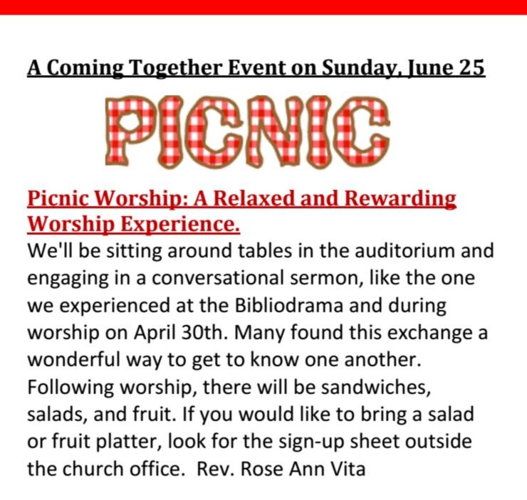 Picnic Worship – Sunday June 25th at 10:30am
