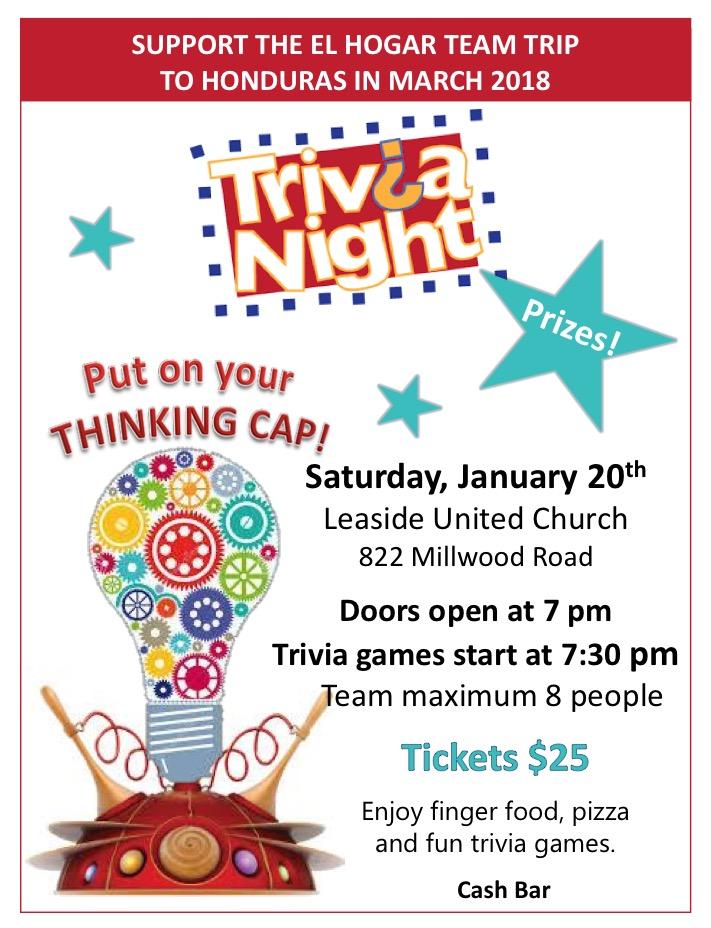 Trivia Night! Saturday, January 20, 2018