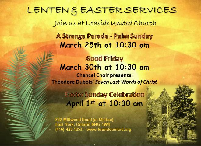 Lenten & Easter Services at Leaside United Church