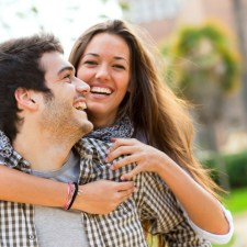 Close up of couple having fun outdoors