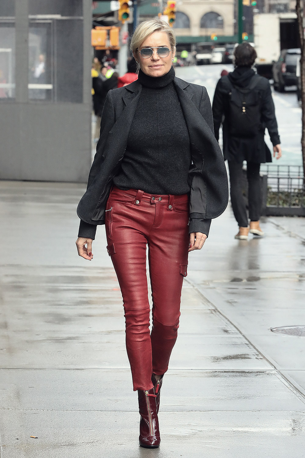 Yolanda Hadid Out Amp About In Nyc Leather Celebrities