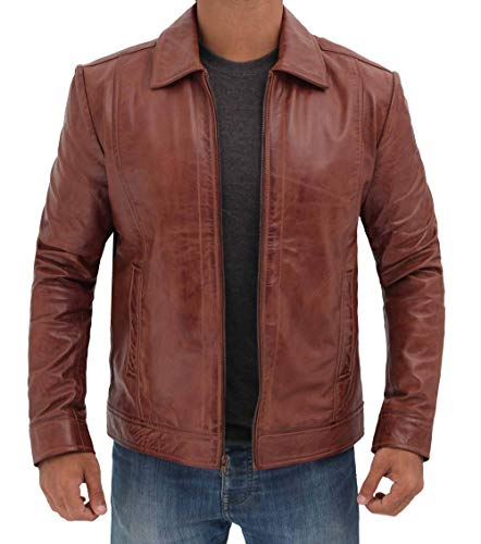 Brown, Small ScorpionExo 1909 Mens Leather Motorcycle Jacket