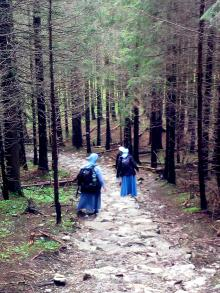 Nuns hiking the woods