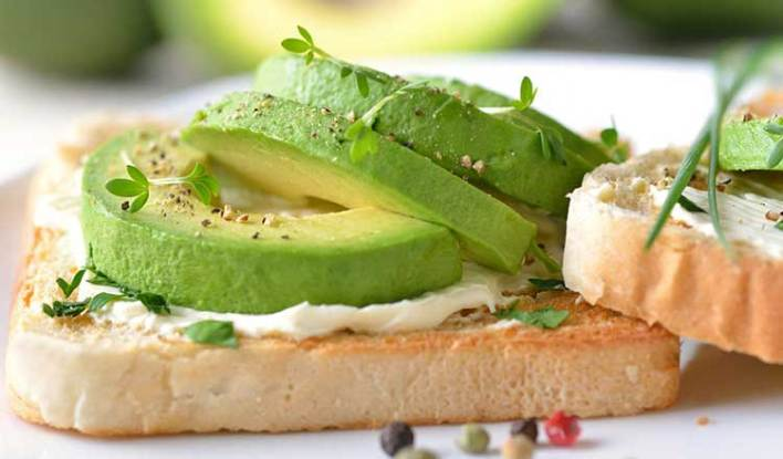 toast with avocado and cream cheese