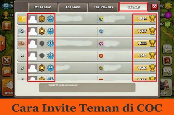 Cara invite Teman di Game Clans of Clans