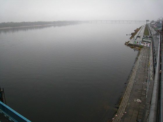 Upon exiting the metro car at Dnipro station, we were greeted by this ominous view over the Dnieper River.