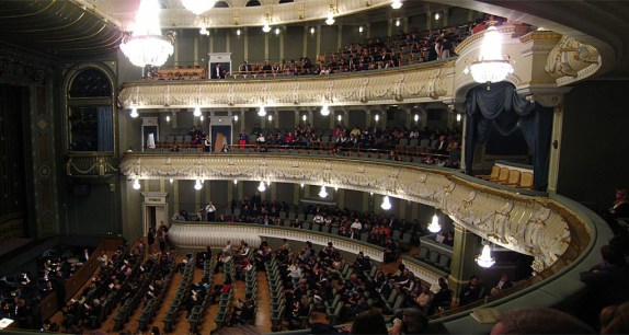 The inside of the theatre. I was very awestruck. Even though there are less balconies than the real Большой театр it still had that impressive aura to it.