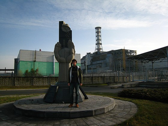 Me standing in front of the reactor and memorial, about 300m away.