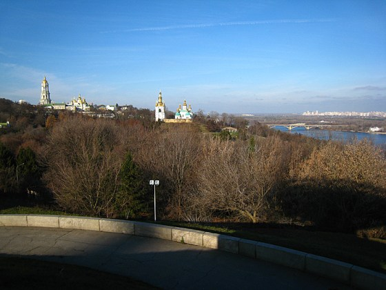 The northern view: looking up at the Lavra. This made me feel as if I was in the middle ages, these amazing cathedrals on the top of the hill over looking the river and me walking toward them to finish my journey.