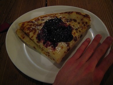 Pancakes for dessert! This delicious blueberry jam pancake with cottage cheese (which here is really like sweet blueberry yogurt) on the inside stuffed me. We should have listened to the hostel manager and ordered one for the two of us.