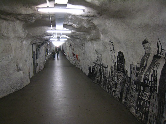 Tunnel in between metro and mall.