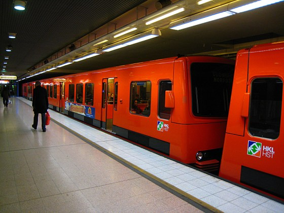 Red metro. One line through the city. Maybe that's why it's cleaner and the cars are bigger. It's a significantly smaller system than Moscow's.