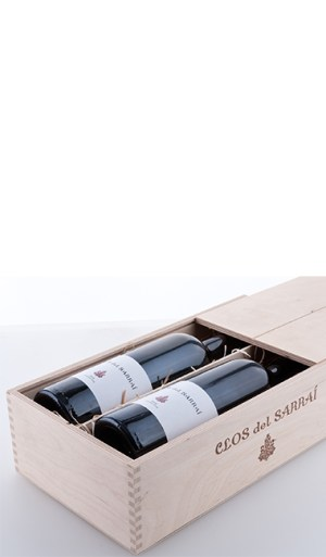 "Two bottles in the ""Clos del Sarrai"" wooden box made of natural birch plywood with sliding lid 2013 - Trossos del Priorat"