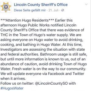 Offizielle Warnung des Sheriffs von Lincoln County