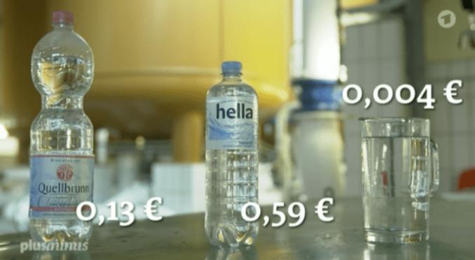 Preisvergleich bei Trinkwasser (Q: PLUSMINUS/ARD)