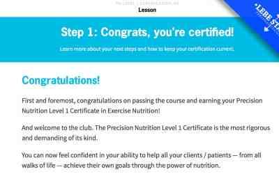 Lebe Stark ist Precision Nutrition zertifiziert