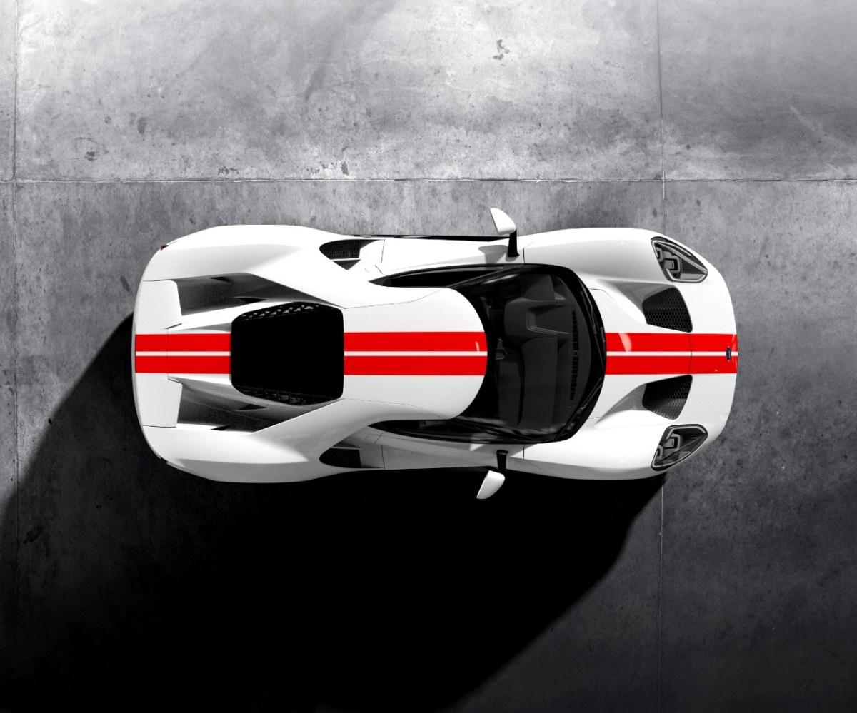 Frozen-White-Ford-GT-Race-Red-Stripe-Overhead
