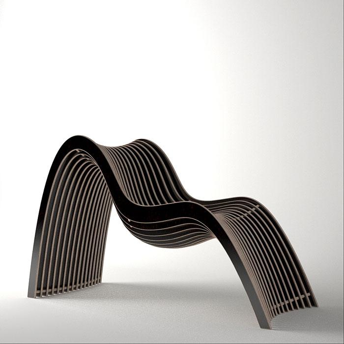 Wavy Chair En Bois Noir
