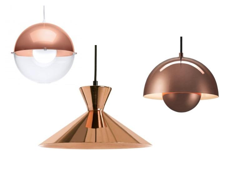 luminaire cuivre nouveauté suspension ronde