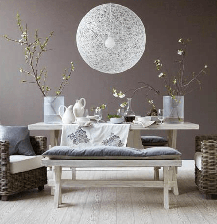 suspension boule blanche XXL fond gris