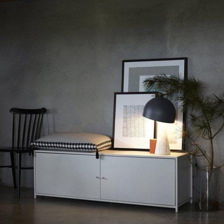 ampm meuble bas blanc et lampe