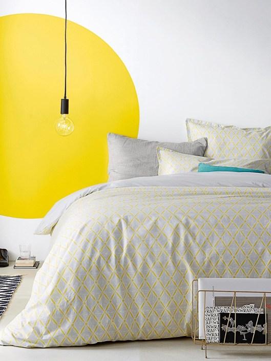 housse-de-couette-jaune-imprime-geometrique