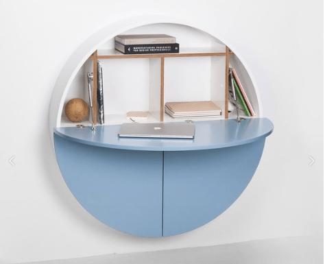 bureau mural rond bleu