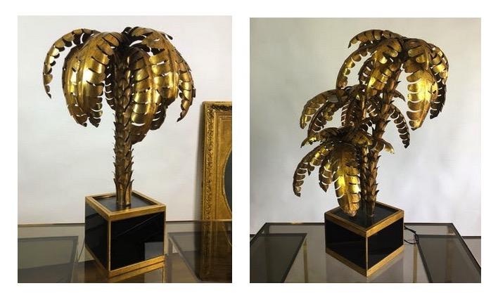lampe palmier laiton vintage
