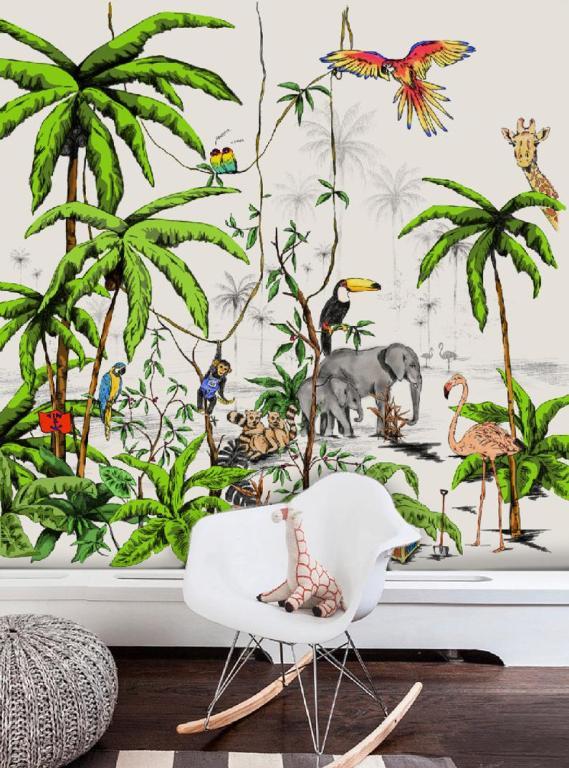 déco tropicale chambre enfant papier peint